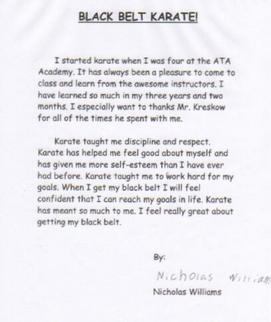 black belt promotion essay Tae kwon do black belt essays are inspirational and fun to read check our our  essays from local asheville black belt students.