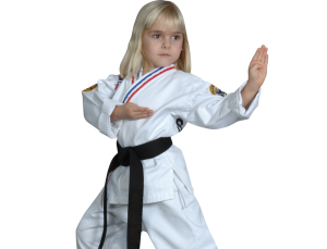 young girl in a ready stance
