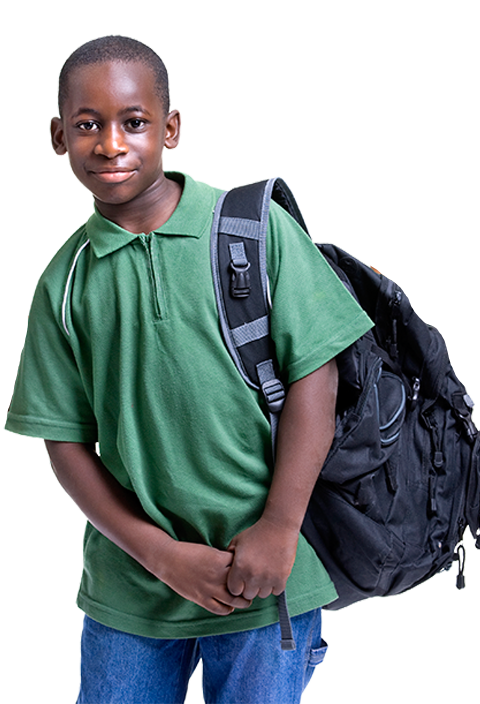 young school boy with backpack