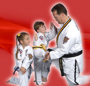 Karatebuilt instructor with young students