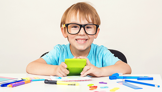 Genius boy in glasses